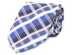 Silk Tie, Black, Orange & White