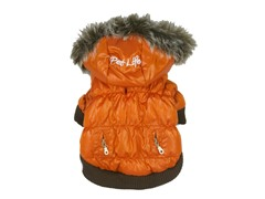 Orange Metallic Fashion Parka with Hood