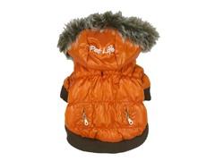 Orange Metallic Fashion Parka with Hood