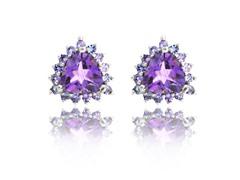 SS Genuine Amethyst & Tanzanite Earrings