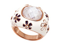 18K GP White/Purple Enamel/Crystal Flower Ring