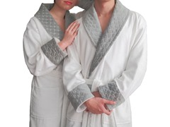 Terry Bathrobe with Grey Diamond Details-Grey