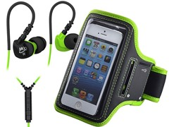 In-Ear Headphones & Armband-Green/Black