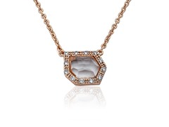 Riccova Retro Layering 14K Rose Plated Necklace CZ Clear Glass Accent