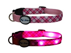 Dog-e-Glow Pink Plaid LED Lighted Collar-Large