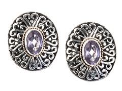18k Gold Accent Amethyst Stud Earrings