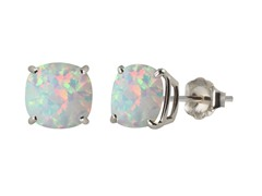 10K WG Stud Earrings, Created Opal