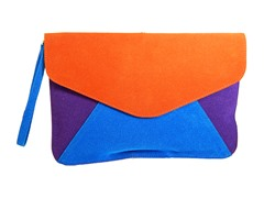Velvet Clutch Bag, Orange Purple & Blue