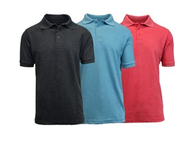 Men's Heathered Pique Polo 3 Pack