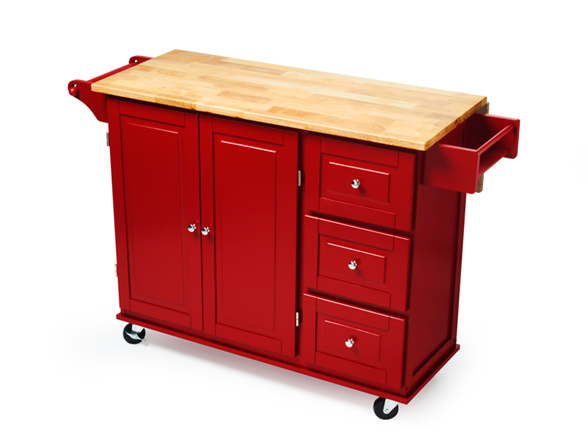 Rolling Wood Top Kitchen Cart - Red