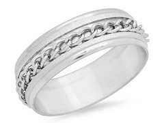 Stainless Steel Ring w/ Inlay Chain Accent