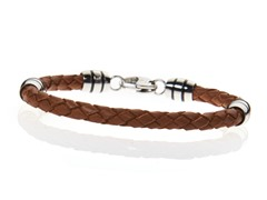 BlackJack Stainless Steel and Brown Leather Bracelet