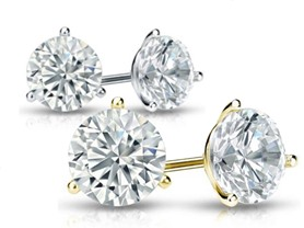 14K Certified Diamond Martini Studs, 0.5-2.0 CTTW