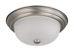 "2-Light 13"" Flush Mount, Brushed Nickel"