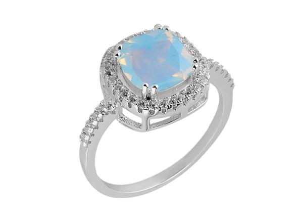 Cushion Cut Opal Ring With Crystals Fashion
