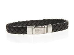 CZ Braided Leather Bracelet