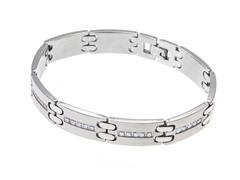 Brushed & Polished Stainless Steel CZ Square Link Bracelet