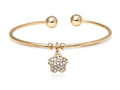 Gold/White Swarovski Elements Flower Charm Bangle