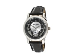 Black & Silver Genuine Leather Watch