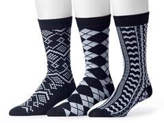 Muk Luks Men's 3 Pair Pack Socks, Black