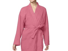 Organic Cotton Jersey Knit Robe -Coral