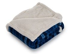 Fleece Sherpa Blanket Throw - Blue