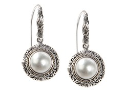 18kt Gold Accent Mabe Pearl Earrings