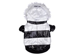 Black & White Fashion Parka with Hood