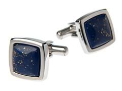 Brushed SS & Genuine Lapis Lazuli Square Cufflinks