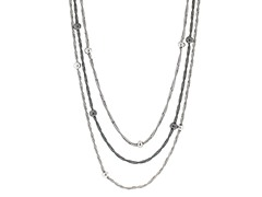 Sterling Silver 2-Tone Bead Necklace