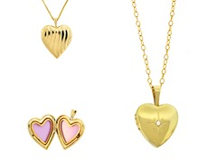 10kt Gold Reversible Polished Heart Locket w/ Diamond