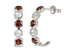 SS Garnet & White Topaz J Hoop Earrings