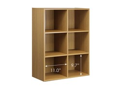 Contemporary 6-Cube Storage, Natural Oak Finish