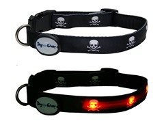 Dog-e-Glow Skulls LED Lighted Collar-Medium