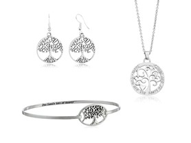 Beverly Hills Silver Tree Of Life Jewelry Set