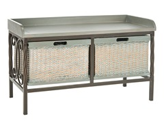 Noah Wooden Storage Bench - Grey