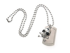 Stainless Steel Dog Tag w/ Skull and Cross Bones