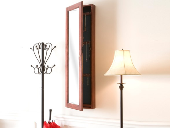 Wall Mount Jewelry Mirror Cherry