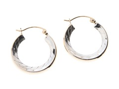 14kt Gold Hoop Earrings, Two Tone w/ Inside Facets