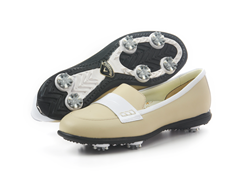 Moccasin Golf Shoes, Bone/White Patent