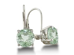 5ct Green Amethyst Earrings in Sterling Silver