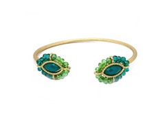 Gold-Plated & Glass Bead Open Bangle - Green