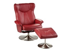 Recliner & Ottoman-Red Bonded Leather