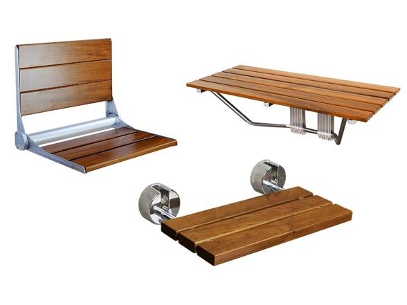 Clevr Folding Teak Shower Bench Seats