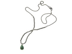 Sterling Silver Sparkle Bead & Jade Drop Necklace