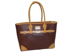 17'' East West Laptop Tote - Brown/Tan