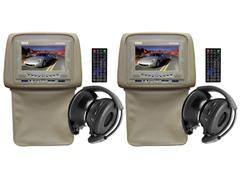 "Adj Headrest w/ 7"" LCD, DVD & Wireless Headphones- Pair"