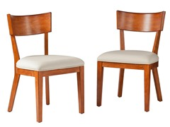Paolo Dining Chairs 2pc Set - Pecan Brown w/Cream