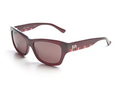 Burgundy Sunglasses w/Stripes Brown Lens
