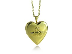 18k Gold Plated Claddagh Heart Locket